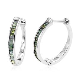 9K White Gold Green Diamond (Bgt) Hoop Earrings (with Clasp) 0.500 Ct.
