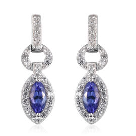 Tanzanite and Natural Cambodian Zircon Dangle Earrings (with Push Bcak) in Platinum Overlay Sterling