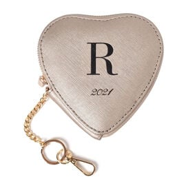 100% Genuine Leather R Initial Heart Shape Coin Card / Purse with Key Chain in Gold Colour (Size 12x