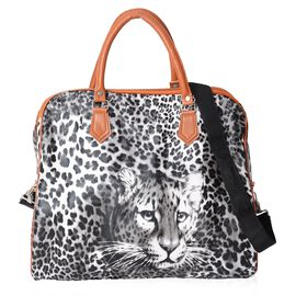 Leopard Pattern Tote Bag with Detachable Shoulder Strap and Zipper Closure (Size 43x20x38 Cm) - Blac