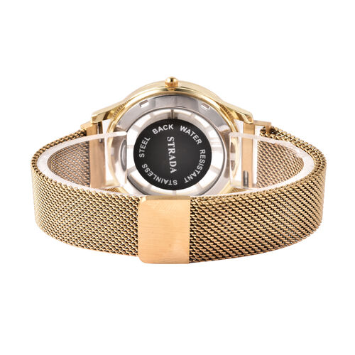 STRADA Japanese Movement White Austrian Studded Water Resistant Watch with Mesh Style Strap in Yellow Gold Tone