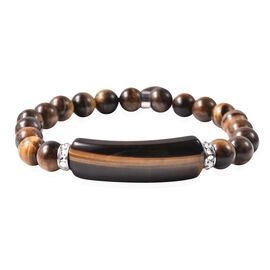 Yellow Tiger Eye, White Austrian Crystal Stretchable Bracelet (Size 7) in Stainless Steel 115.00 Ct.