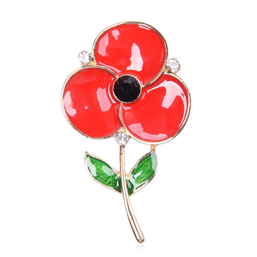 TJC Poppy Design - Black and White Austrian Crystal Enamelled Floral Magnetic Brooch