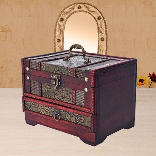 Antique Copper Floral Embossed 3 Layer Jewellery Box with Inside Mirror, Top Removable Tray and a Pull-out Drawer (Size 22x16x16 Cm)