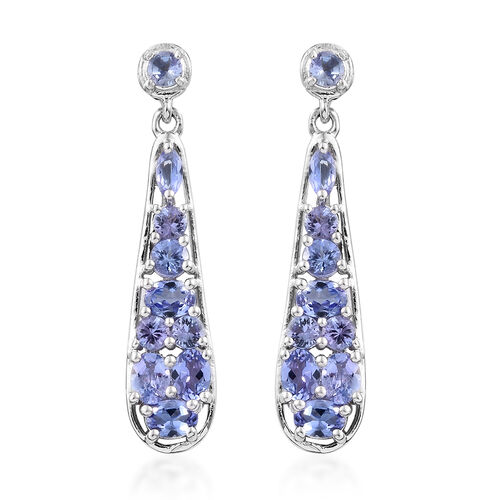 Tanzanite (Ovl) Drop Elongated Earrings (with Push Back) in Platinum Overlay Sterling Silver 2.250 Ct.