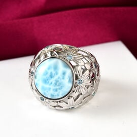 OTO - Sajen Silver Larimar and Blue Topaz Floral Ring in Sterling Silver 11.00 ct, Silver wt 10.75 Gms