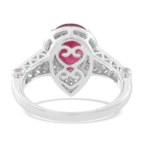 African Ruby (Pear 4.00 Ct), Natural White Cambodian Zircon Ring in Rhodium Plated Sterling Silver 4.750 Ct.