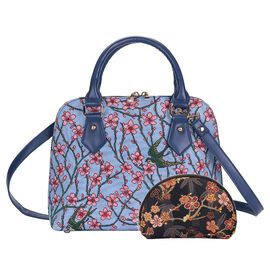 Signare Tapestry Almond Blossom and Swallow Collection - Top Handle Handbag with Adjustable Shoulder