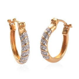 Diamond Full Hoop Earrings (with Clasp) in 14K Gold Overlay Sterling Silver