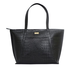 Assots London AGNES Croc Embossed Genuine Leather Tote Bag with Zipper Closure (Size 33x11x26) - Bla