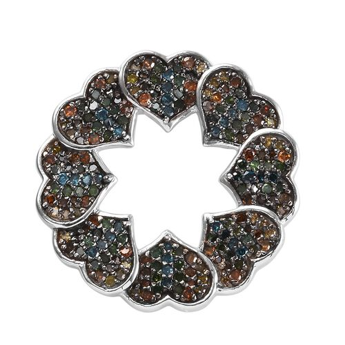 GP 1.08 Ct Multi Colour Diamond and Blue Sapphire Heart Pendant in Platinum Plated Silver
