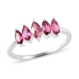Valentine Special- Rose Garnet 5-Stone Look Ring in Sterling Silver 1.050  Ct.