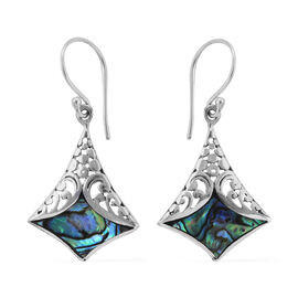 Royal Bali Collection Abalone Shell Filigree Design Hook Earrings in Sterling Silver