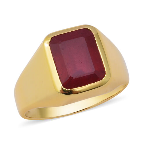 5.25 Ct African Ruby Solitaire Ring in Gold Plated Sterling Silver