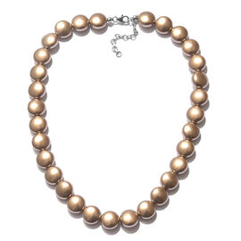 J Francis Pearl From Swarovski -  Golden  Colour (Coin) Necklace(Size 18 and 2 inch Extender) in Rhodium Overlay Sterling Silver