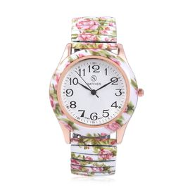 STRADA Japanese Movement Water Resistant Multi Colour Floral Pattern Watch in Stainless Steel