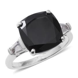 Boi Ploi Black Spinel (Cush 12 mm), White Topaz Ring in Rhodium Overlay Sterling Silver 8.850 Ct.
