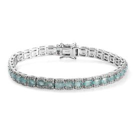 Extremely Rare 11.25 Ct Grandidierite and Zircon Tennis Bracelet in Platinum Plated Silver 7.5 Inch