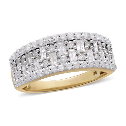 9K Yellow Gold SGL Certified Diamond (Rnd and Bgt) (I3/G-H) Half Eternity Ring 1.000 Ct.