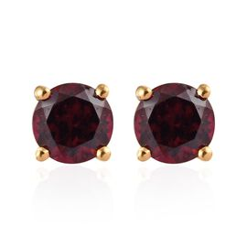 Rhodolite Garnet (Rnd) Stud Earrings (with Push Back) in 14K Gold Overlay Sterling Silver 1.25 Ct.