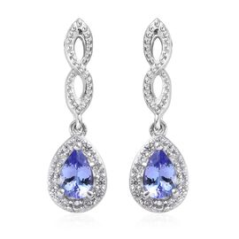 AA Tanzanite and Natural Cambodian Zircon Drop Earrings (with Push Back) in Platinum Overlay Sterlin