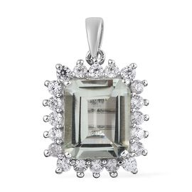 Prasiolite (Oct), Natural Cambodian Zircon Pendant in Platinum Overlay Sterling Silver 5.500 Ct.