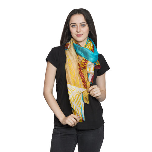 100% Mulberry Silk Yellow, Red and Multi Colour Printed Scarf (180x100 Cm)
