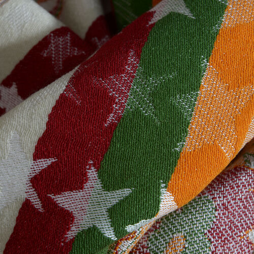 White, Red and Multi Colour Floral and Star Pattern Scarf with Tassels (Size 200x70 Cm)
