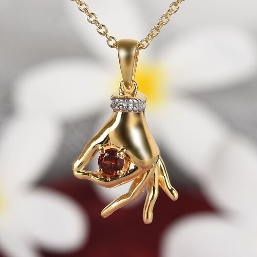 AA Mozambique Garnet Mudra Hand Pendant With Chain (Size 20) in Yellow Gold and Platinum Overlay Sterling Silver 0.35 Ct, Silver wt. 6.96 Gms