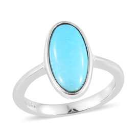 Arizona Sleeping Beauty Turquoise (Ovl) Solitaire Ring in Platinum Overlay Sterling Silver 2.500 Ct