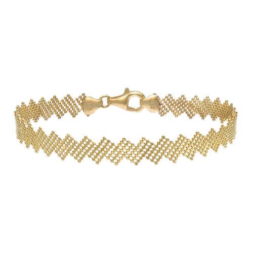 Italian Made - 9K Yellow Gold Diamond Cut Ball Zig Zag Bracelet (Size 7.5).Gold Wt 4.00 Gms