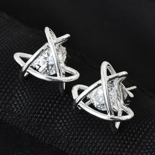 J Francis Sterling Silver (Rnd) Earrings (with Push Back) Made with SWAROVSKI ZIRCONIA