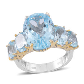 Rare Size Sky Blue Topaz (Ovl 11.20 Ct) 5 Stone Ring in Rhodium Plated Sterling Silver 16.000 Ct.