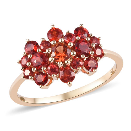 1.25 Ct Extremely Rare AAA Red Sapphire Boat Ring in 9K Yellow Gold