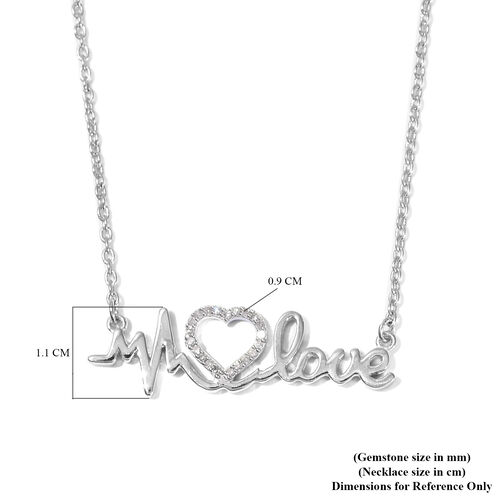 White Diamond Heart and Heartbeat Necklace (Size 18) in Platinum Overlay Sterling Silver