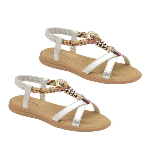 Dunlop Adonia Embellished Open Toe Flat Sandals (Size 5) - Silver