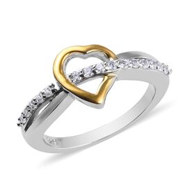 J Francis - Platinum and Yellow Gold Overlay Sterling Silver (Rnd) Heart Criss Cross Ring Made with