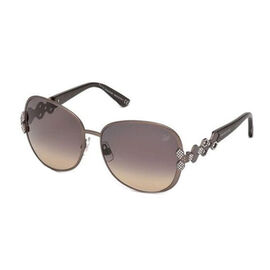 SWAROVSKI Oversize Purple Metal Sunglasses With Decorative Temples