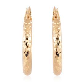 9K Yellow Gold Diamond Cut Hoop Earrings Gold Wt 2.00 Grams