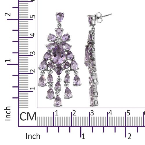 Rose De France Amethyst (Pear), Natural Cambodian Zircon Chandelier Earrings (with Push Back) in Platinum Overlay Sterling Silver 18.750 Ct. Silver wt 12.18 Gms.