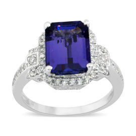 ILIANA 3 Ct AAAA Tanzanite and Diamond Ring in 18K White Gold 4.87 Grams SI GH