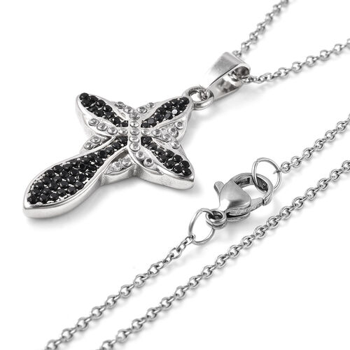 Black Spinel and Simulated Diamond Cross Pendant with Chain (Size 20) in Stainless Steel 5.45 Ct.