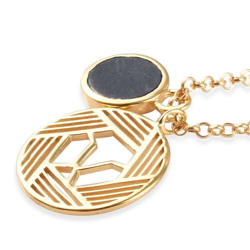 GP - Black Jade and Blue Sapphire Necklace (Size 26) in 14K Gold Overlay Sterling Silver 3.23 Ct, Silver wt 10.00 Gms