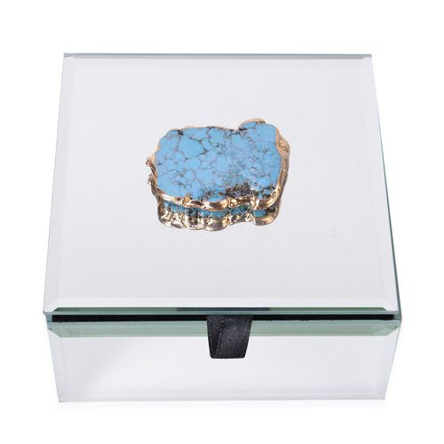 Blue Howlite Embellished White Colour Glass Box in Yellow Gold Tone (Size 11.5X11.5X6 Cm)