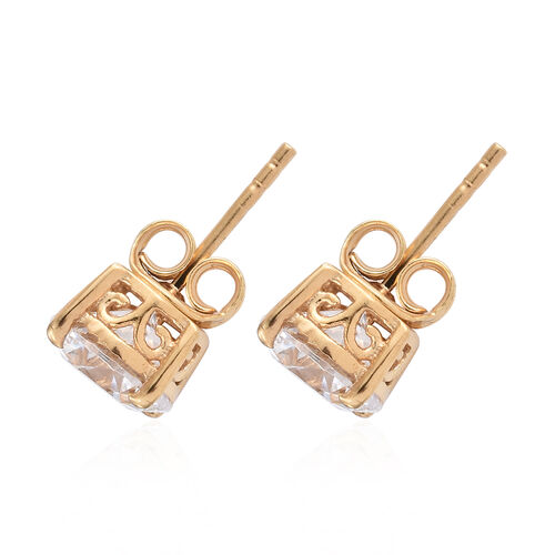 J Francis 14K Gold Overlay Sterling Silver (Rnd 7.5mm) Stud Earrings (with Push Back) Made with SWAROVSKI ZIRCONIA