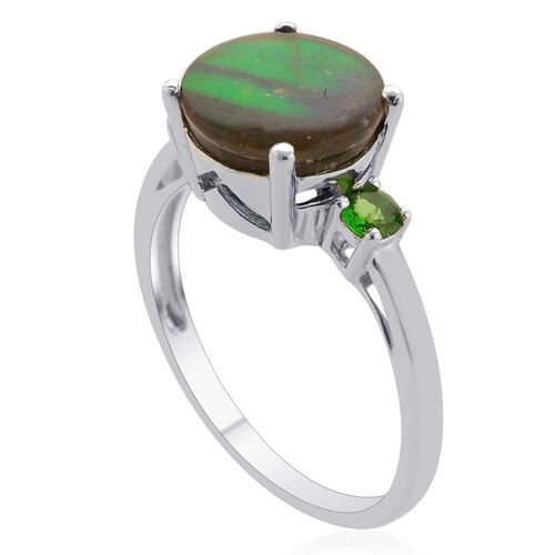 Tucson Collection Canadian Ammolite (Rnd 2.25 Ct), Russian Diopside Ring in Platinum Overlay Sterling Silver 2.500 Ct.