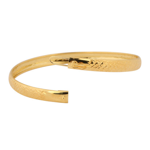 NY Close Out Deal- Diamond Cut Sterling Silver Bangle (Size 8) in 14K Gold Overlay