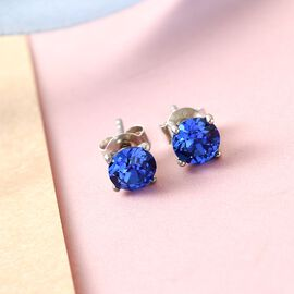 J Francis Crystal from Swarovski - Sapphire Swarovski Crystal Stud Earrings (with Push Back) in Platinum Overlay Sterling Silver
