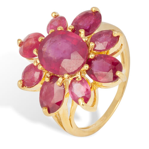 African Ruby (Ovl 3.70 Ct) Ring in Yellow Gold Overlay Sterling Silver 10.700 Ct.