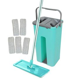 Davis & Grant Flat Mop with Dual Bucket - 5 Heads - Green